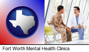 a doctor counseling a soldier at a mental health clinic in Fort Worth, TX