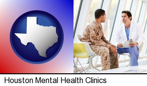 a doctor counseling a soldier at a mental health clinic in Houston, TX