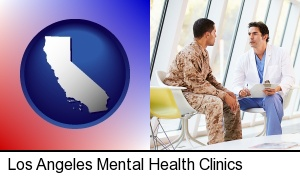 Los Angeles, California - a doctor counseling a soldier at a mental health clinic