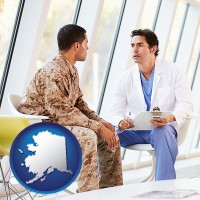 alaska map icon and a doctor counseling a soldier at a mental health clinic
