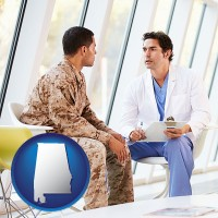 al a doctor counseling a soldier at a mental health clinic
