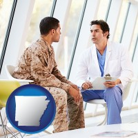 arkansas map icon and a doctor counseling a soldier at a mental health clinic