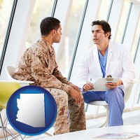 arizona map icon and a doctor counseling a soldier at a mental health clinic