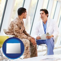 colorado map icon and a doctor counseling a soldier at a mental health clinic