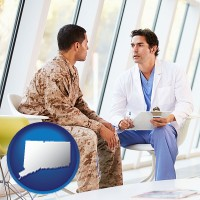 connecticut map icon and a doctor counseling a soldier at a mental health clinic