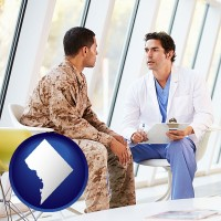 washington-dc map icon and a doctor counseling a soldier at a mental health clinic
