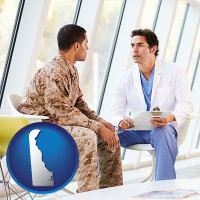 delaware map icon and a doctor counseling a soldier at a mental health clinic