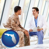 florida map icon and a doctor counseling a soldier at a mental health clinic