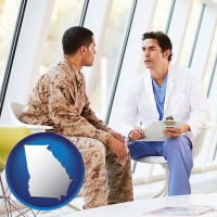 ga map icon and a doctor counseling a soldier at a mental health clinic