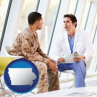 iowa map icon and a doctor counseling a soldier at a mental health clinic