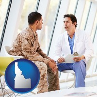 idaho map icon and a doctor counseling a soldier at a mental health clinic