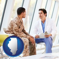 il map icon and a doctor counseling a soldier at a mental health clinic