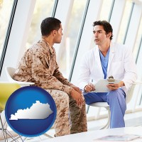kentucky map icon and a doctor counseling a soldier at a mental health clinic