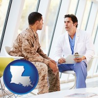 louisiana map icon and a doctor counseling a soldier at a mental health clinic