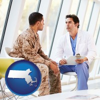 massachusetts map icon and a doctor counseling a soldier at a mental health clinic