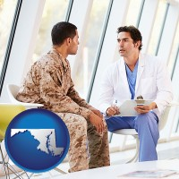 md map icon and a doctor counseling a soldier at a mental health clinic