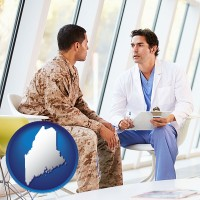 maine map icon and a doctor counseling a soldier at a mental health clinic