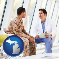 michigan map icon and a doctor counseling a soldier at a mental health clinic
