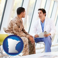 mn map icon and a doctor counseling a soldier at a mental health clinic