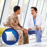 missouri map icon and a doctor counseling a soldier at a mental health clinic