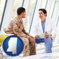 ms map icon and a doctor counseling a soldier at a mental health clinic