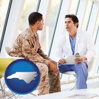 north-carolina map icon and a doctor counseling a soldier at a mental health clinic