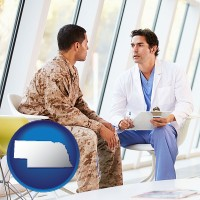nebraska map icon and a doctor counseling a soldier at a mental health clinic