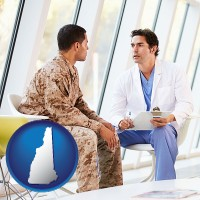 new-hampshire map icon and a doctor counseling a soldier at a mental health clinic