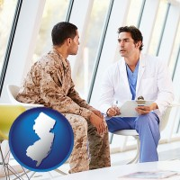 new-jersey map icon and a doctor counseling a soldier at a mental health clinic