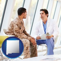 new-mexico map icon and a doctor counseling a soldier at a mental health clinic
