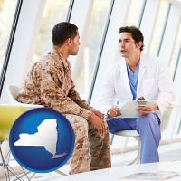 ny map icon and a doctor counseling a soldier at a mental health clinic