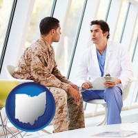 oh map icon and a doctor counseling a soldier at a mental health clinic