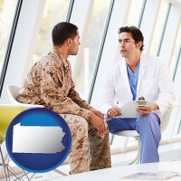 pennsylvania map icon and a doctor counseling a soldier at a mental health clinic