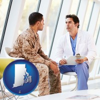 rhode-island a doctor counseling a soldier at a mental health clinic