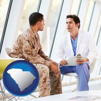 south-carolina map icon and a doctor counseling a soldier at a mental health clinic