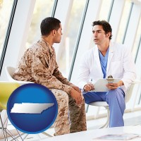 tennessee map icon and a doctor counseling a soldier at a mental health clinic