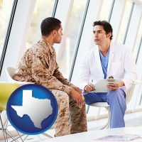 texas map icon and a doctor counseling a soldier at a mental health clinic