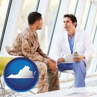 virginia map icon and a doctor counseling a soldier at a mental health clinic