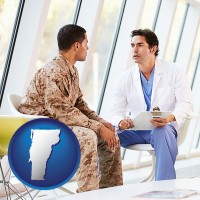 vermont map icon and a doctor counseling a soldier at a mental health clinic