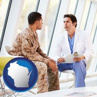 wisconsin map icon and a doctor counseling a soldier at a mental health clinic