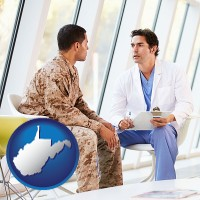 wv a doctor counseling a soldier at a mental health clinic
