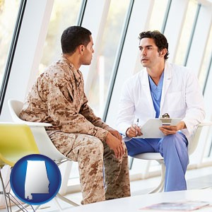 a doctor counseling a soldier at a mental health clinic - with Alabama icon