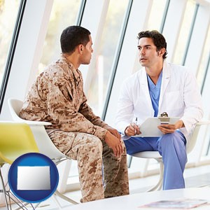 a doctor counseling a soldier at a mental health clinic - with Colorado icon