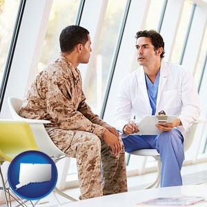 a doctor counseling a soldier at a mental health clinic - with Connecticut icon