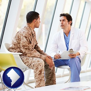 a doctor counseling a soldier at a mental health clinic - with Washington, DC icon