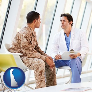 a doctor counseling a soldier at a mental health clinic - with Delaware icon