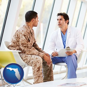 a doctor counseling a soldier at a mental health clinic - with Florida icon