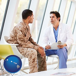 a doctor counseling a soldier at a mental health clinic - with Hawaii icon