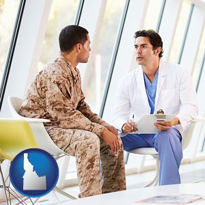 a doctor counseling a soldier at a mental health clinic - with Idaho icon