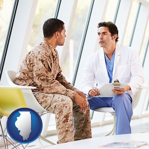 a doctor counseling a soldier at a mental health clinic - with Illinois icon